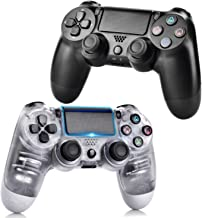Best Wireless Controllers for PS4, Wireless Remote Control for Playstation 4, YU33 PS4 Joystick Gamepad for PS4 Controller with Doubleshocks and Charging Cable(Transparent White and Jet Black) Review
