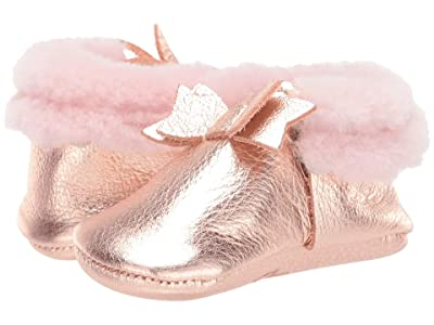 Freshly Picked Rose Gold Shearling Bow Mocc (Infant/Toddler) (Rose Gold) Girl