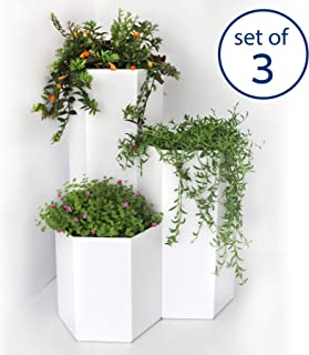 Palram Botan Inside (3 Pack System) Modern Tall Hexagon Planters- Indoor, Patio Deck, Porch Plant Holders, Terrace Gravity Irrigation System;11.8, 19.6, 27.6-Inch-High; Each Diameter 11 Inch (White)