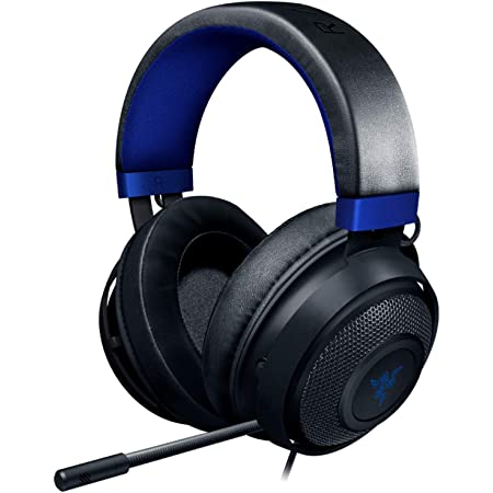 Razer Kraken Gaming Headset: Lightweight Aluminum Frame - Retractable Noise Isolating Microphone - For PC, PS4, PS5, Switch, Xbox One, Xbox Series X & S, Mobile - 3.5 mm Headphone Jack - Black/Blue