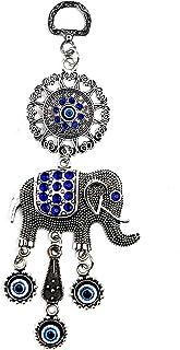 قلادة LUCKBOOSTIUM فريدة من نوعها على شكل زهرة العين الشر مع الكريستال الأزرق و سحر الفيل - علامة للقوة، القوة، الاستقرار ...