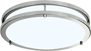 LB72165 LED Flush Mount Ceiling Light, Brushed Nickel, 16-Inch, 23W, (120W Equivalent), 5000K Daylight, 1610 Lumens, ETL & DLC Listed, Energy Star, Dimmable
