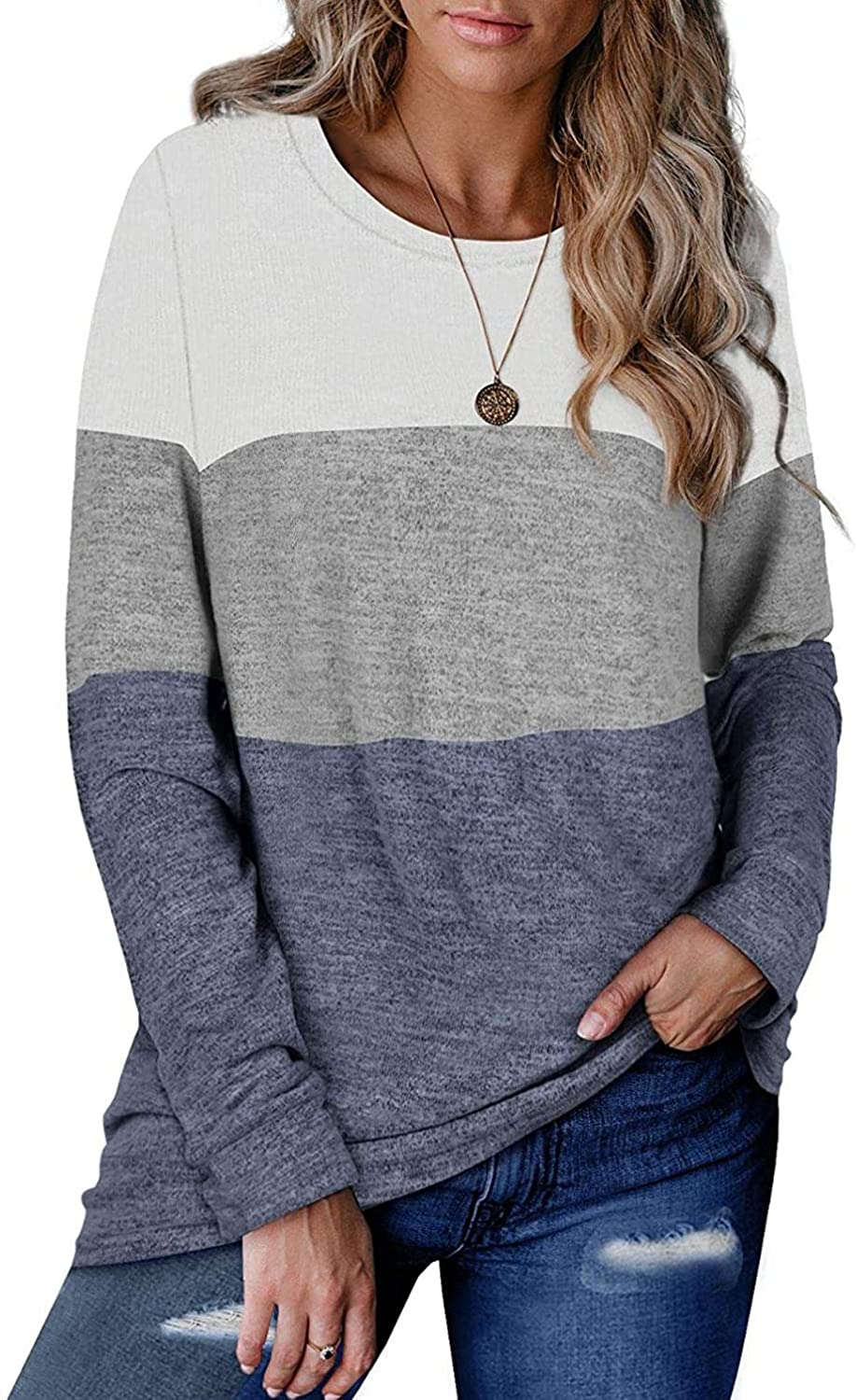 RNUYKE Women's Fall Long Sleeve Loose Casual Pullover Tunic Tops O-Neck Print Casual Blouses
