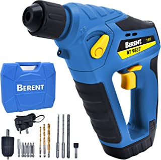 Berent Rotary Hammer 18v Li-ion Battery Fast Charger 3 in 1 Function Good Tools for Home Garage and Outdoor Working Hammer...