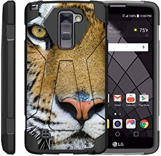 TurtleArmor | Compatible with LG Stylus 2 Case | LG G Stylo 2 Case | Stylo 2 V [Dynamic Shell] Hybrid Cover Impact Absorber Shock Silicone Combo Hard Kickstand Wild Animal - Tiger Stare