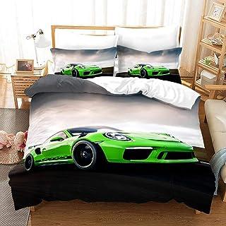 Green Supercar Bedding Sets Duvet Cover Set 3 Piece, 3D Poker Bedroom Duvet Set 2 X Pillowcases 1 X Quilt Case for Double ...