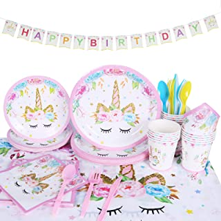 Beauenty 114 Pcs Serves 16 Unicorn Themed Party Supplies Disposable Tableware Plates and Napkins Paper Cups Table Cloth Ba...