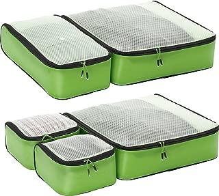 Hyper-Lite Travel Packing Cubes - Lightweight Organizers - Super Packer 5pc Set (Green)