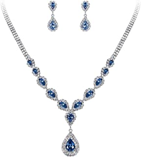 Clearine Women's Wedding Bridal Crystal CZ Teardrop Infinity Design Y-Necklace Dangle Earrings Jewelry Set