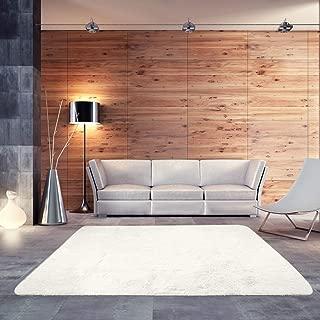 BlueSnail Super Ultra Soft Modern Shag Area Rugs, Bedroom Livingroom Sittingroom Floor Rug Carpet Blanket for Children Play Home Decorate (4' x 5.3', Rectangle, Beige White)