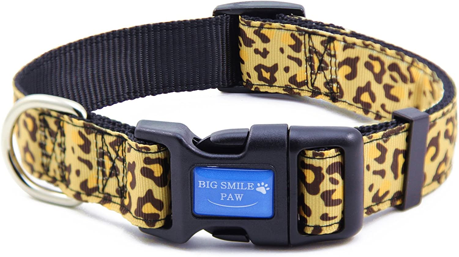 BIG SMILE PAW Nylon Dog Collar Adjustable,Leopard Print Dog Collar (M)