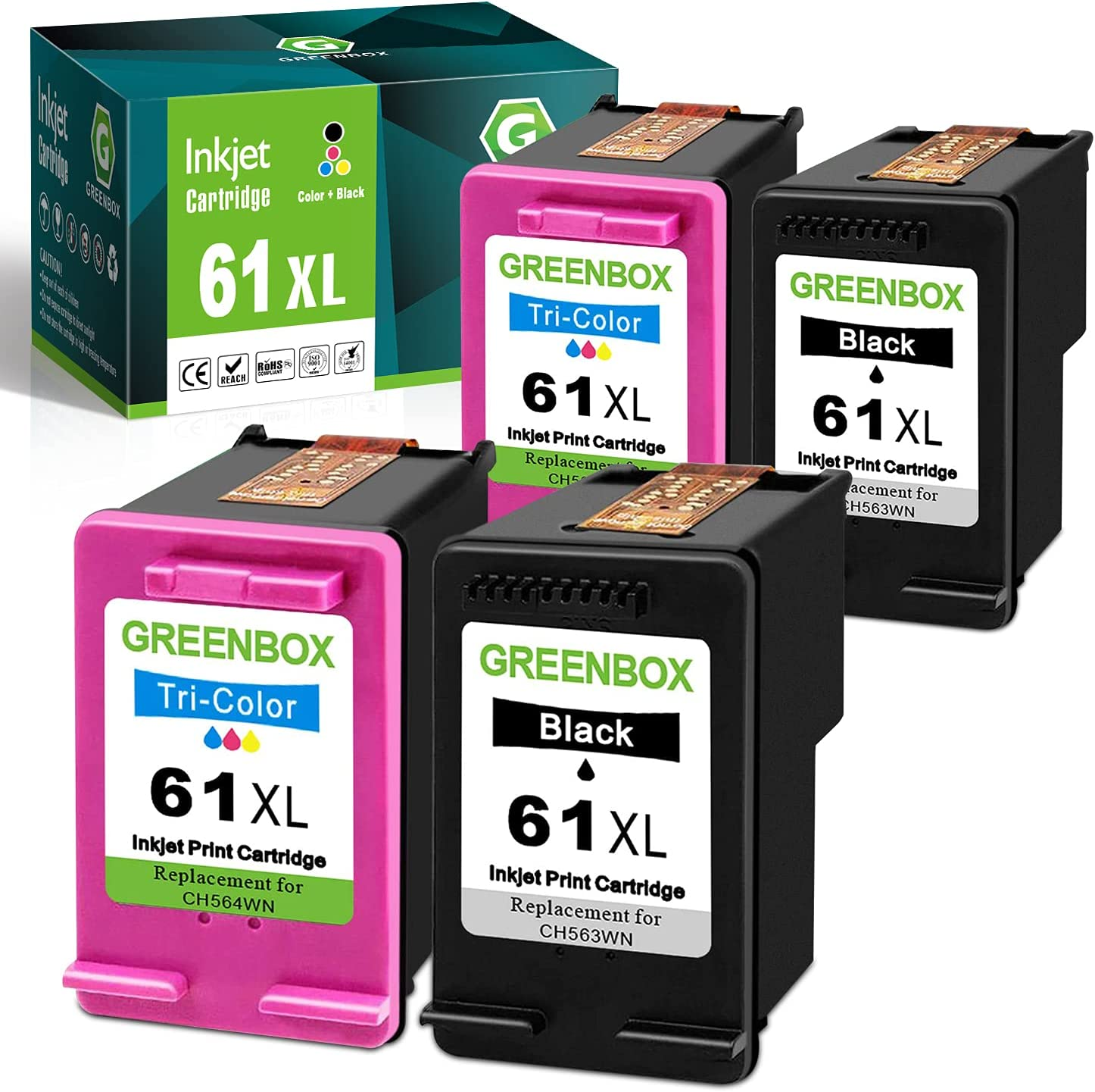 GREENBOX Remanufactured Ink Cartridge 61 Replacement for HP 61XL 61 XL for Hp Envy 4500 5530 5534 5535 Deskjet 1000 1056 1010 1510 1512 2540 3050 050A Officejet 2620 Printer Tray (2 Black 2 Tri-Color)