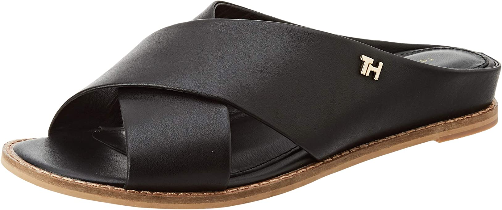 Tommy Hilfiger Feminine Leather Low Wedge, Chanclas para Mujer