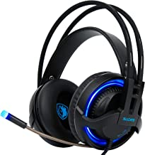 R2 Gaming Headset PS4 One , LED Light & Noise-Isolation MicrophonePC Mac Controller with Crystal Stereo Bass Surround Sound Soft Memory Earmuffs for PC
