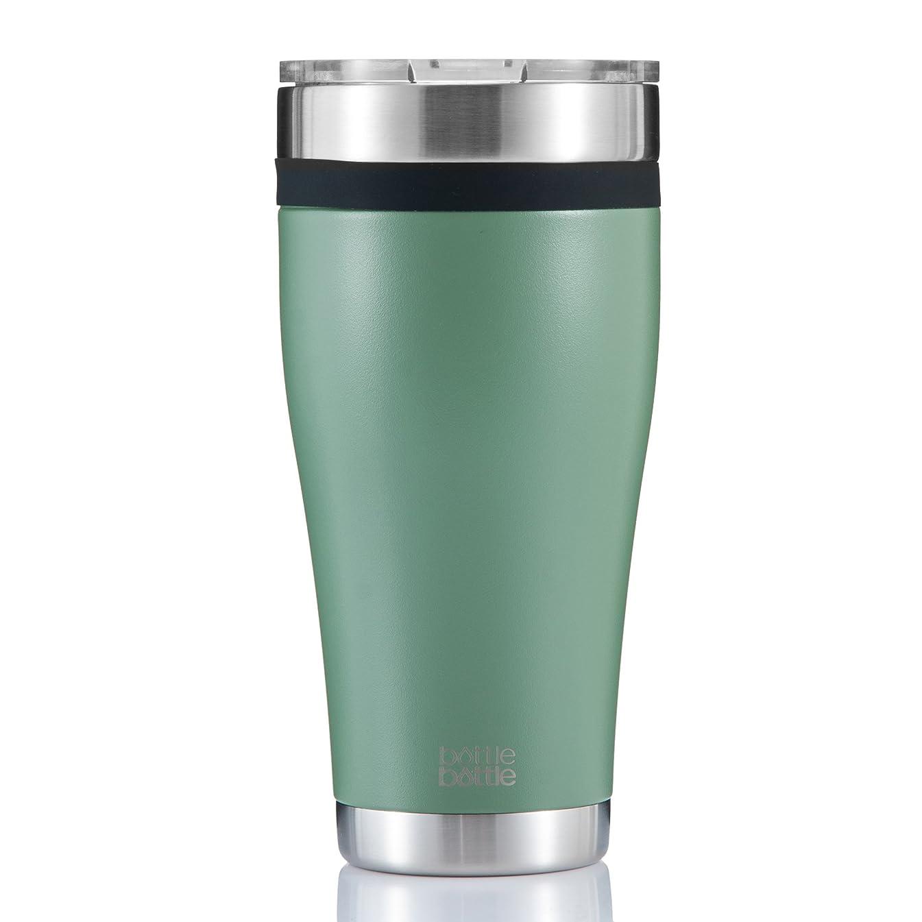 やさしいシエスタペナルティボトルボトル 真空断熱 タンブラー ふた付き フタに飲み口開いている 保温保冷 ステンレス 890ml 緑