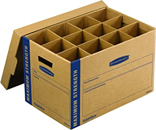 Bankers Box SmoothMove Heavy-Duty Dish and Glass Moving Kit, 1 Box, Box Dividers, Cushion Foam, 12 x 12.25 x 18.5 Inches, 1 Pack (7710302)