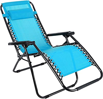 Meflying Foldable Zero Gravity Reclining Chaise Lounge with Adjustable Pillow, Folding Lounge Chairs | Beach Chaise Chair for Outdoor (US Stock) (Blue2)
