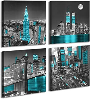New York City Canvas Wall Art Print Black and White Brooklyn Bridge,Blue Empire State Building Wall Art Night Scene Modern...