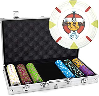 Claysmith Gaming 300-Count 'Rock & Roll' Poker Chip Set in Aluminum Case, 13.5gm