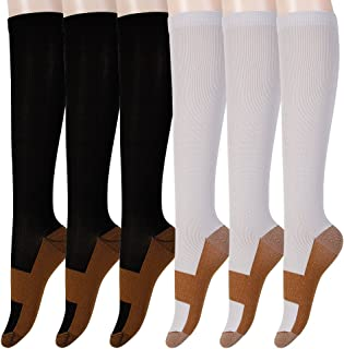 Graduated Copper Compression Socks 6 Pairs Anti Fatigue Knee High Socks For Men Women Pain Ache Relief Stockings-15-20 mmHg (XXL, Black&White)