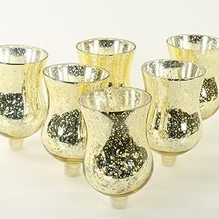 Koyal Wholesale Candelabra Hurricane Glass Shades, Bulk Set of 6 Peg Votive Holders (Antique Gold, 5-Inch)
