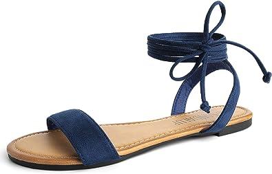 Sandalup - Sandali bassi da donna con cinturino in flanella da allacciare