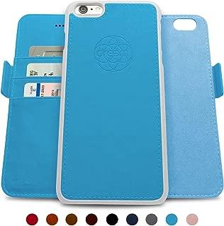 Dreem Fibonacci 2-in-1 Wallet-Case for iPhone 6-Plus & 6s-Plus, Magnetic Detachable PC Slim-Case, Luxury Vegan Leather, RFID Protection, Smart 2-Way Stand, Gift-Box - Sky