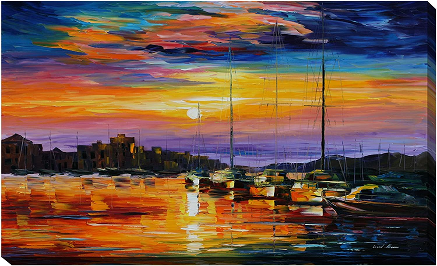 Picture Perfect International Giclee Stretched Wall Art by Leonid Afremov Sicily, Messina Artists-Canvas, 18  x 30  x 1