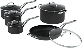 THE ROCK by Starfrit  060319-001-0000 10-Piece Cookware Set with Stainless Steel Handles, Black