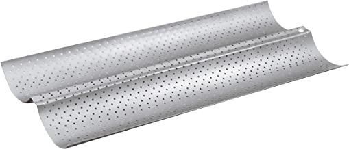 Fridaymonga Non-stick Baguette Pan,Nonstick Perforated French Bread Baking Pan Bakeware Toast Cooking Bake Mold 2 Waves Steel Tray Italian Sub Long Roll Loaves Loaf Bake Mold