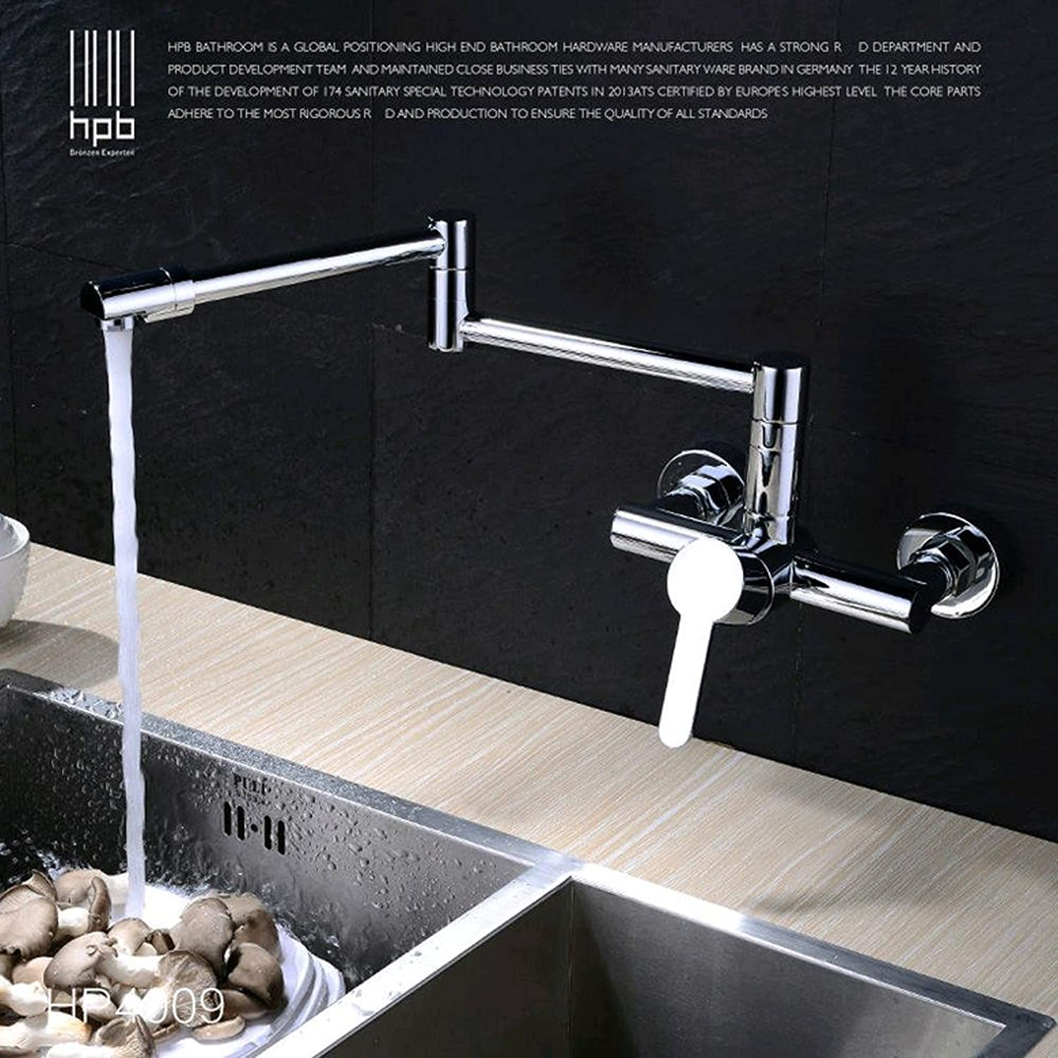 BingHaiY Contemporary Brass Folding Kitchen Faucet Wall Mounted Sink Mixer Tap Single handle Single Hole Hot and Cold Water