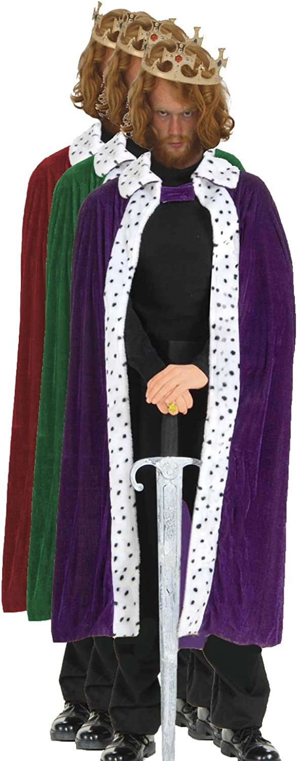 All 3 Kings Robes with Plastic Crown Red Purple and Green Nativity Wise Men Christmas[All 3 Colours]