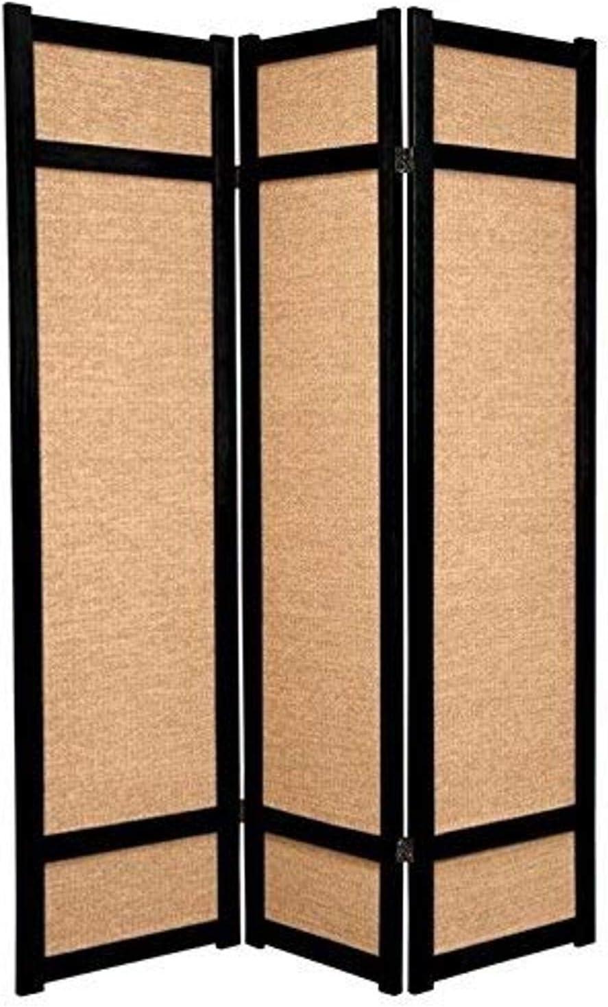 Oriental Furniture 6 ft. Tall Jute Shoji Screen - 3 Panel - Black