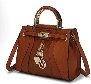 MKF Crossbody Satchel Bags for Women - PU Leather Pocketbook Handbag - Shoulder Strap, Lady Top Handles Purse