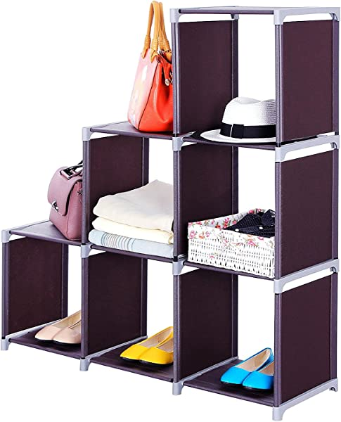Yuehang Cube Storage 6 Cube Closet Organizer Cube Organizer Storage Shelves Bookcase Bookshelf Clothes Cabinets Storage Cubes Bins Cubbies Shelving For Bedroom Living Room Office Brown