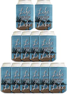 Lake Vacation Accessories Life is Better at the Lake 12-pack Can Coolie Drink Coolers Coolies Multi