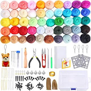 PP OPOUNT Needle Felting Starter Kit with Instructions, 50 Colors Wool Roving Fibre Yarn, 25 Pieces Wool Felt Tools and Fo...