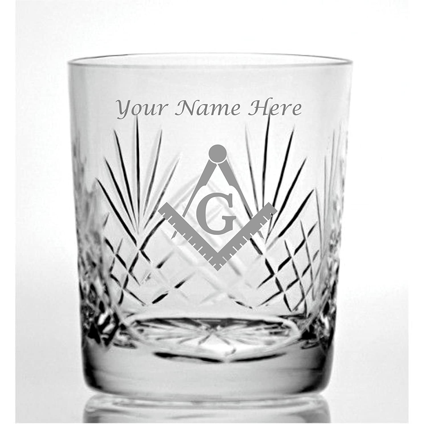 Personalised Engraved Cut Crystal 9oz Whisky Glass With Masonic Design
