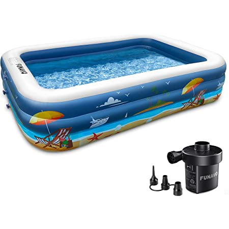 """Inflatable Swimming Pool, FUNAVO 100"""" X 71"""" X 22"""" Full-Sized Family Inflatable Pool for Kids Adults Baby Toddlers, Blow Up Kiddie Pool With Pump for Backyard, Outdoor Swim Center"""