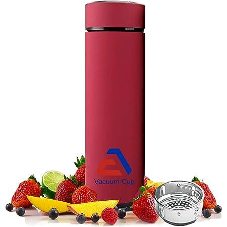 EA Company Taza de viaje – Botella infusora de té con colador de hojas sueltas termo aislado caliente para café, fruta fría infusión, vaso de agua de doble pared de acero inoxidable
