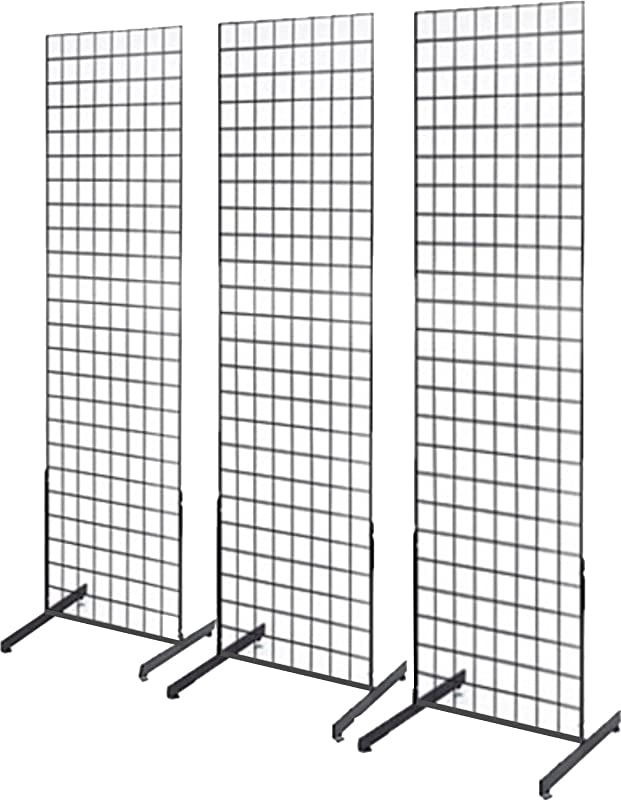 Only Garment Racks 2 X 6 Gridwall Panel Tower With T Base Floorstanding Display Kit 3 Pack Black
