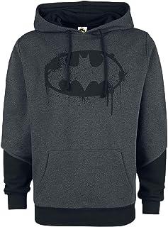 Batman Destroyed Symbol Hombre Sudadera con Capucha Gris/Negro, , Regular
