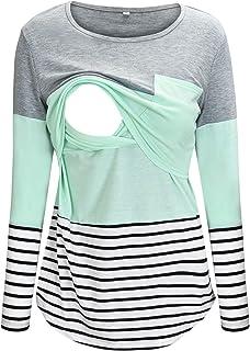 تی شرت بارداری بلوک رنگ پیراهن پرستاری Bhome برای شیردهی تی شرت با جیب