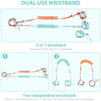 [Upgrade] Anti Lost Wrist Link, Dr. meter 2 in 1 Toddlers Safety Wristband Leash with Key & Lock, Kids Anti Lost Walk...