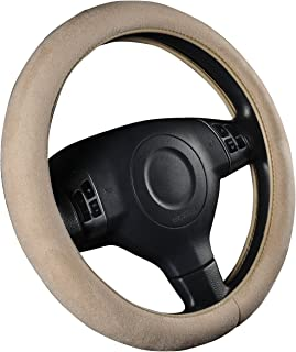 CAR PASS Faux Suede Universal Car Steering Wheel Cover, for Cars,suvs,Trunk(Beige)