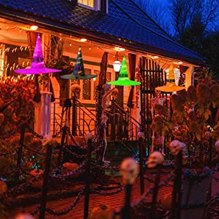 Aurora Halloween Decorations Outdoor 4Pcs Hanging Lighted Glowing Witch Hat Decorations Halloween Lights String Battery Operated Halloween Decor with 4 Lighting Modes for Outdoor, Yard, Tree