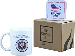 Donald Trump Coffee Mug Trump Smiling Winning Trump 2020 Novelty Cup Gift President of The United States with Coaster