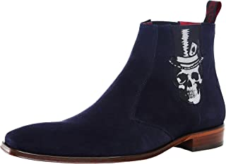 Jeffery-West Men's Suede Scarface Skull Chelsea Boots Navy