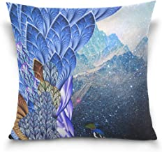 """MASSIKOA Peacock with Blue Purple Feathers Decorative Throw Pillow Case Square Cushion Cover 18"""" x 18"""" for Couch, Bed, Sof..."""