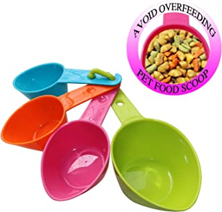 RYPET Pet Food Scoop - Measuring Cups Spoons Set Plastic Dog, Cat Bird Food (Random Color)